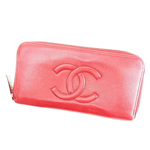 4f20247a14d8 (シャネル) Chanel 長財布 財布 ラウンドファスナー レッド シルバー ココマーク レディース 中古 T6922