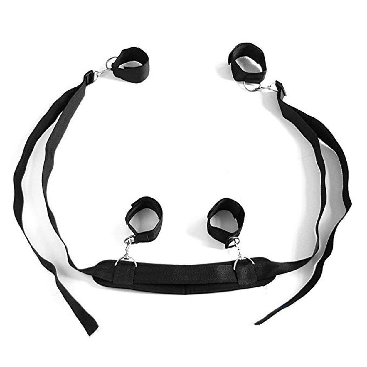 Qrlcas Negro Cosplay Adultos Hand & Tobillo Cuffs Strap Restricciones Kit Restricciones Strap de Cama Pareja Flirt Toy Juguete Sexual 072196