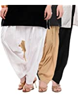 I Shop Traditional Patiala Salwar 100% Cotton Free Size (BLK_WHT_BEIGE)