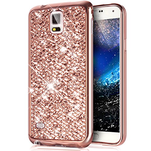 Galaxy Note 4 Case,[Glitter TPU Case] ikasus Ultra-Slim Scratch-Resistant Shiny Sparkle Bling Glitter Handcraft Electroplated Soft TPU Silicone Rubber Protective Case Cover for Galaxy Note 4,Rose Gold