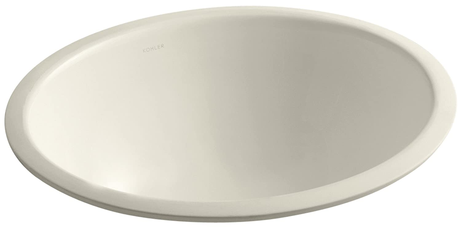KOHLER K-2205-G-47 Caxton Undercounter Bathroom Sink with Glazed Underside, 17 X 14 , Almond