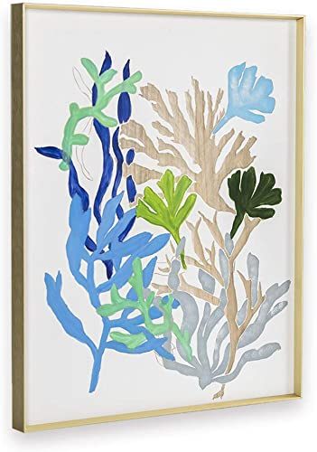 H HOMEPAINT Wood Wall Art Contemporary Abstract Wall Painting Artwork Seaweed Home Decor 16.1 x 20.1 x 1.2 Inch Hand-Painted Gift