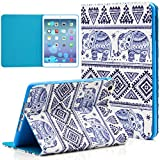 iPad Mini Case, Dteck(TM) Cartoon Cute Paint PU Leather Flip Folio Magnetic Stand Case with Auto Wake/Sleep Smart Cover for Apple iPad Mini/ Mini 2 Retina/ Mini 3 (02 Blue Elephant)