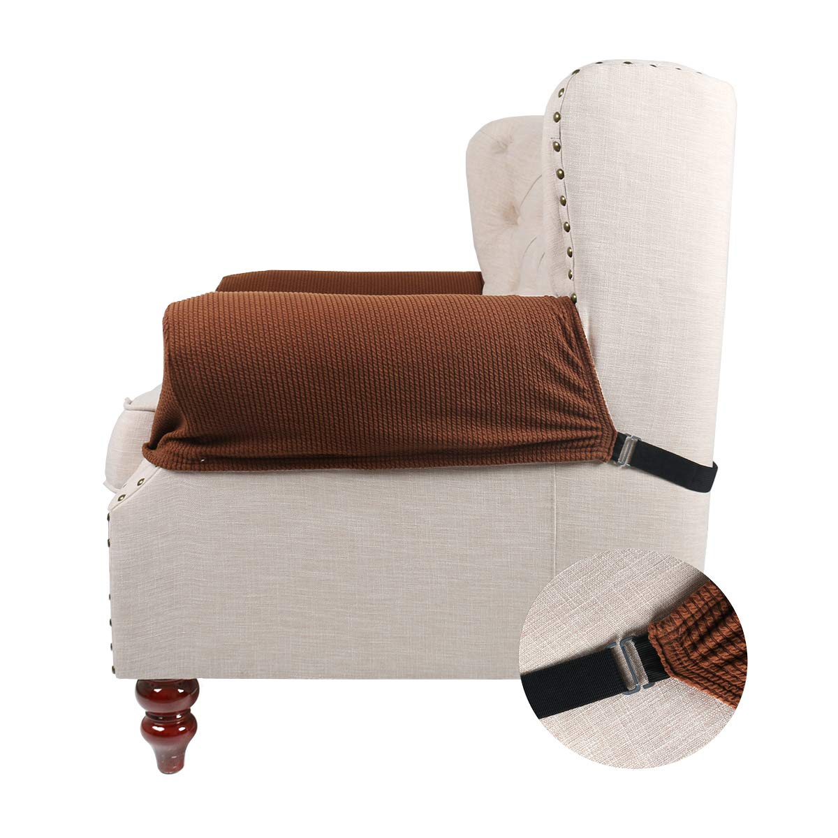 FlyingBean Stretch Couch Armrest Covers for Both Fabric and Leather Chair/Loveseat/Sofa/Recliner, Set of 2 with Adjustable Tapes(Coffee) by FlyingBean