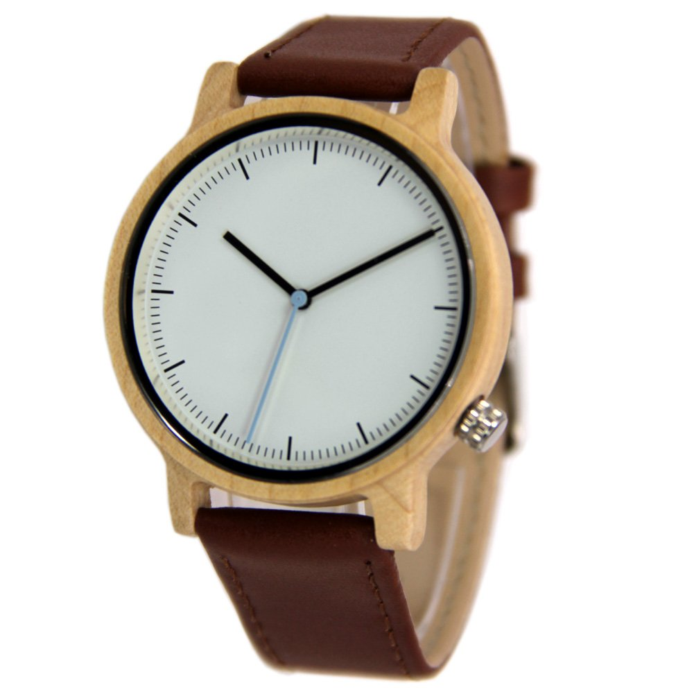 Unisex Wood Watches with Genuine Leather Strap Gift Wristwatch