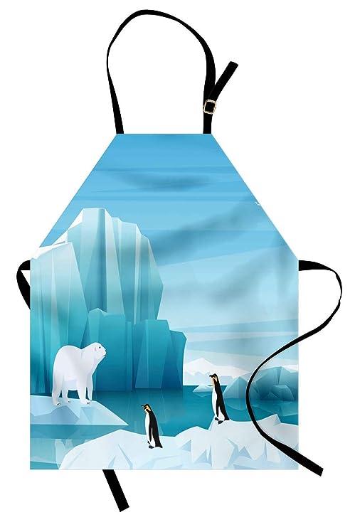 Delantal del Polo Norte, iconos de dibujos animados de pingüinos ...
