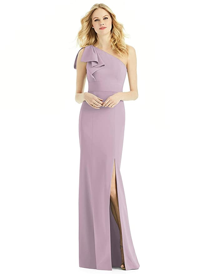 53c4633479c Amazon.com  After Six Style 6769 Floor Length Crepe Trumpet Skirt Formal  Dress - One Shoulder  Clothing