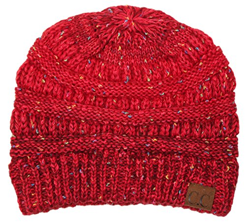 H-6033-8142 Confetti Knit Beanie - Faded/Variegated Pomegranate Red (Pomegranate Hat)