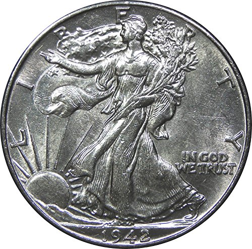 1940-1945 U.S. Walking Liberty Silver Half Dollar Coin, About Uncirculated Condition