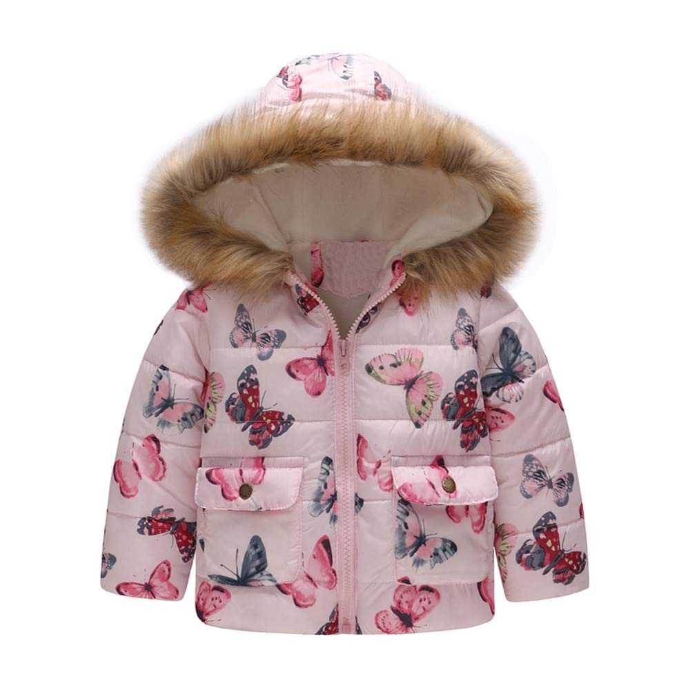 Little Girl Winter Warm Coat,Jchen(TM) Clearance!Toddler Baby Kids Little Girl Boy Butterfly Print Winter Warm Jacket Hooded Coat for 1-6 Years Old (Age: 2-3 Years Old)