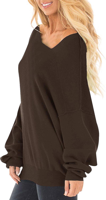 Auxo Donna Maglione Asimmetrico Cardigan Maniche Lunghe Felpa Elegante Casuale Pullover Oversize Jumper Top