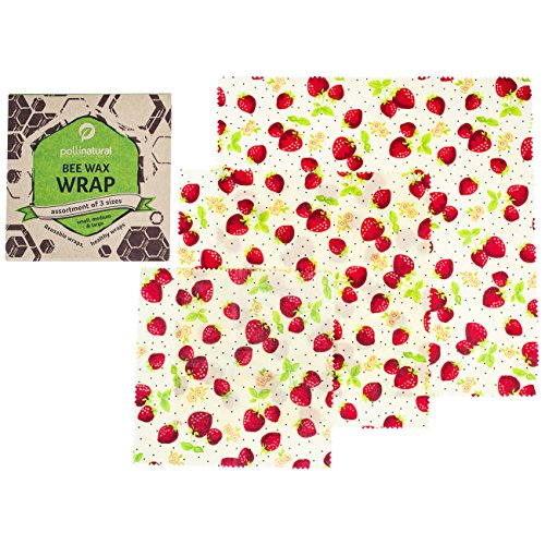 Natural Beeswax Wrap - Plastic Alternative - Reusable Wraps - Healthy And Eco Friendly - Assorted Of 3 Sizes (large-medium-small) - All Ingredients Are 100% Organic (Natural Beeswax Medium)