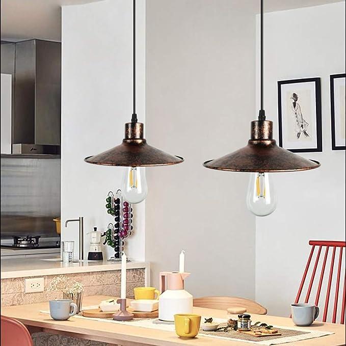 Colgante de las luces del techo de época moderna sala de estar negro colgante lámpara barra de iluminación Lámparas cocina rústica lámpara de araña de retro E27 en restaurante (2colors) UOMUN: Amazon.es: