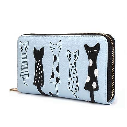 OURBAG Cartera de mujer Monedero lindo del gato Bolso largo con cremallera Azul