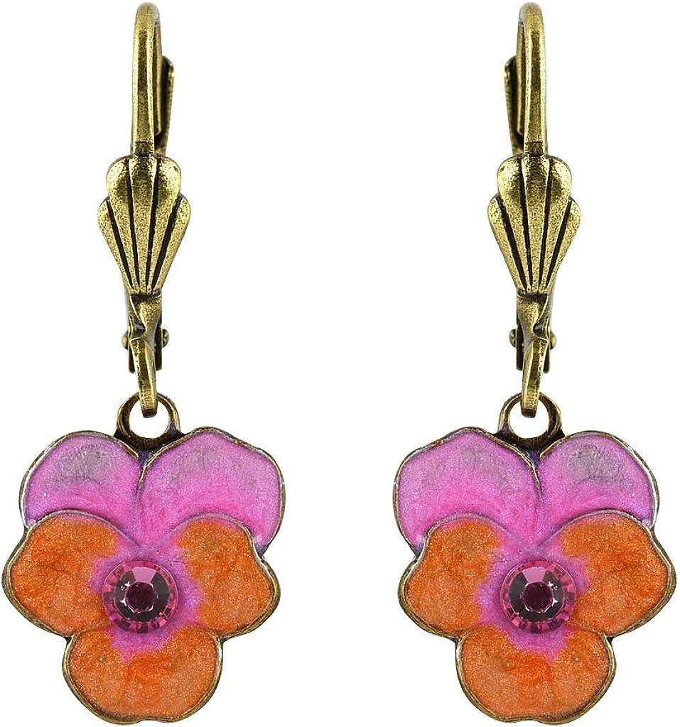 Anne Koplik Pansey Flower Earrings, Silver Plated Pink Crystal Dangle