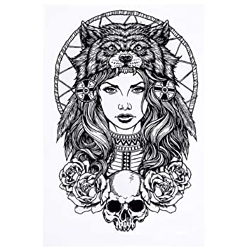Justfox – Tatuaje temporal, diseño de calavera: Amazon.es: Belleza