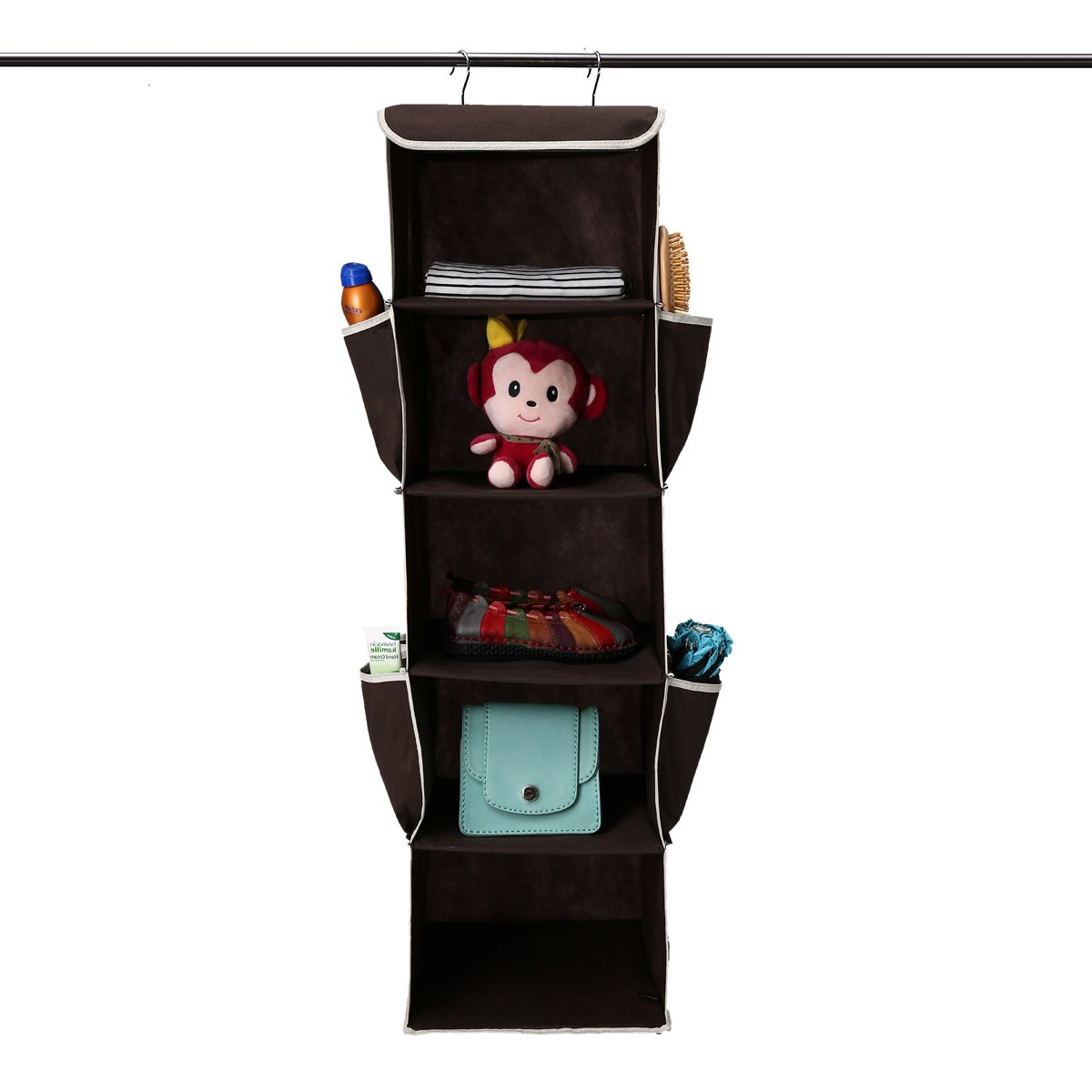 GEMITTO Heavy Duty 5 Shelves Hanging Wardrobe Closet Organizer Clothes Storage Box Accessory Shelves with Side Pockets Brown GEMITTOOHBUS3567812142