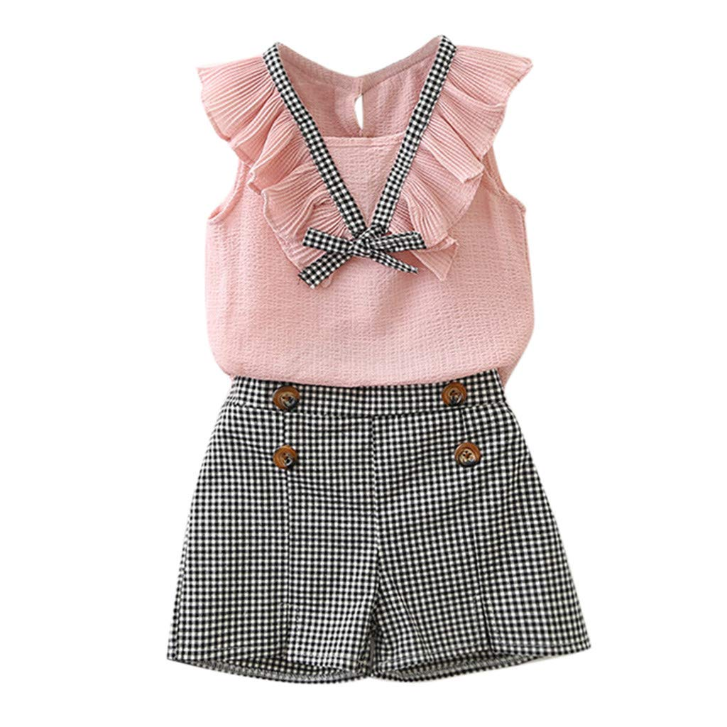 dumanfs Toddler Kids Baby Girls Outfits Clothes Bowknot Vest Sleeveless Tops+Plaid Shorts Pants Set 2T-7T
