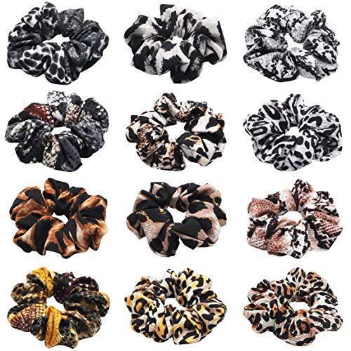 12Pcs Hair Scrunchies with Animal Pattern, Snake Printed Traceless Hair Ties, Leopard Printed Strong Elastic Hair Bobbles for Ponytail Holder, Hair Accessories Ropes Scrunchie for Women