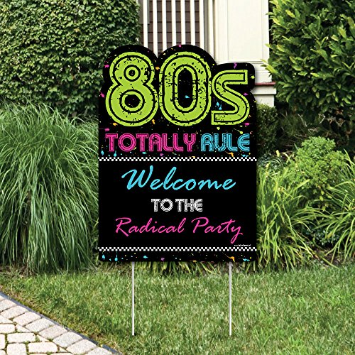 Big Dot of Happiness 80's Retro - Party Decorations - Totally 1980s Party Welcome Yard Sign -