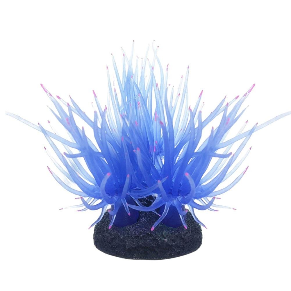 Silicone Coral Plant Decorations Glowing Artificial Ornament for Fish Tank Aquarium (Blue)