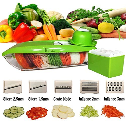 Professional Mandoline Slicer Shredder Best Seller w/Adjustable 5 Thickness Changeable Super Sharp Stainless Steel Blades. Finger Guard, Anti-Slip, Easy Clean for Julienne, Cheese, Fruit, Vegetables