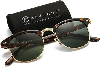 AEVOGUE Polarised Sunglasses Semi-Rimless Frame Classic AE0369 (Tortoise Frame, Black)