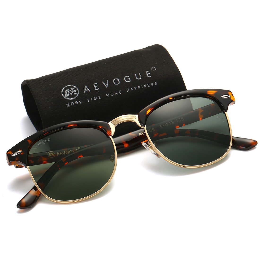 AEVOGUE Polarized Sunglasses Semi-Rimless Frame Brand Designer Classic AE0369 (Tortoise&G15, 48) by AEVOGUE