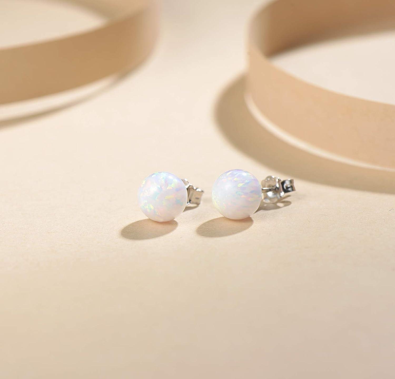 FANCIME Sterling Silver Opal Tiny Dot Stud Earrings White 6mm//8mm Opal Small Ball Earrings Jewelry for Women Teen Girls