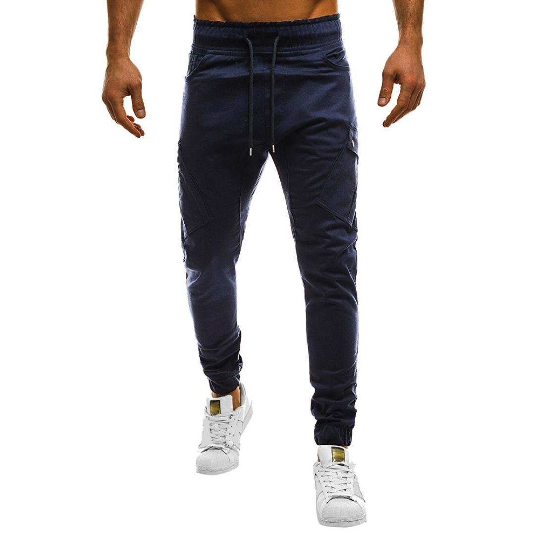 HTHJSCO Men's Fitness Workout Running Bodybuilding Joggers Pants, Men's Sport Casual Loose Sweatpants Drawstring Pant (Navy, L)