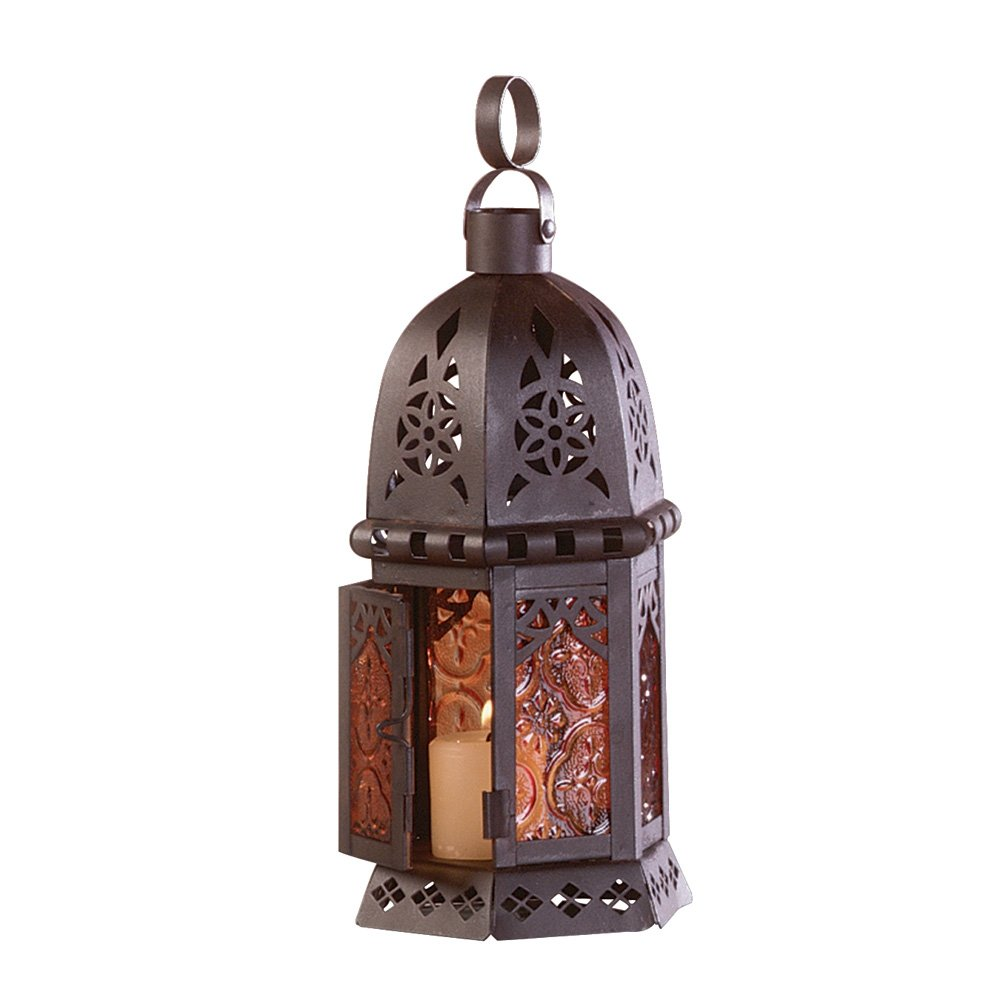 Gifts & Decor Moroccan Metal Amber Glass Candleholder Lantern Light Furniture Creations 33145