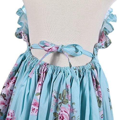 245c3ca2b Flofallzique Vintage Floral Blue Girls Dress Baby Backless Easter Toddler  Clothes for 1-12 Y