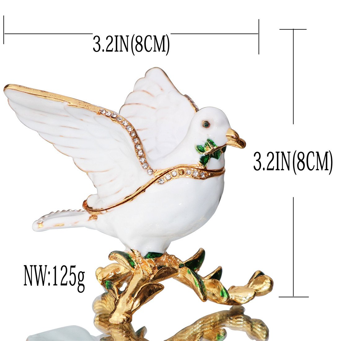 Waltz/&F Peace Dove Trinket Box Hinged Hand-painted Figurine Collectible Ring Holder with Gift Box Dongguan city guchu trading co ltd