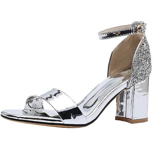 COOLULU Damen Glitzer Offene Sandaletten High Heels