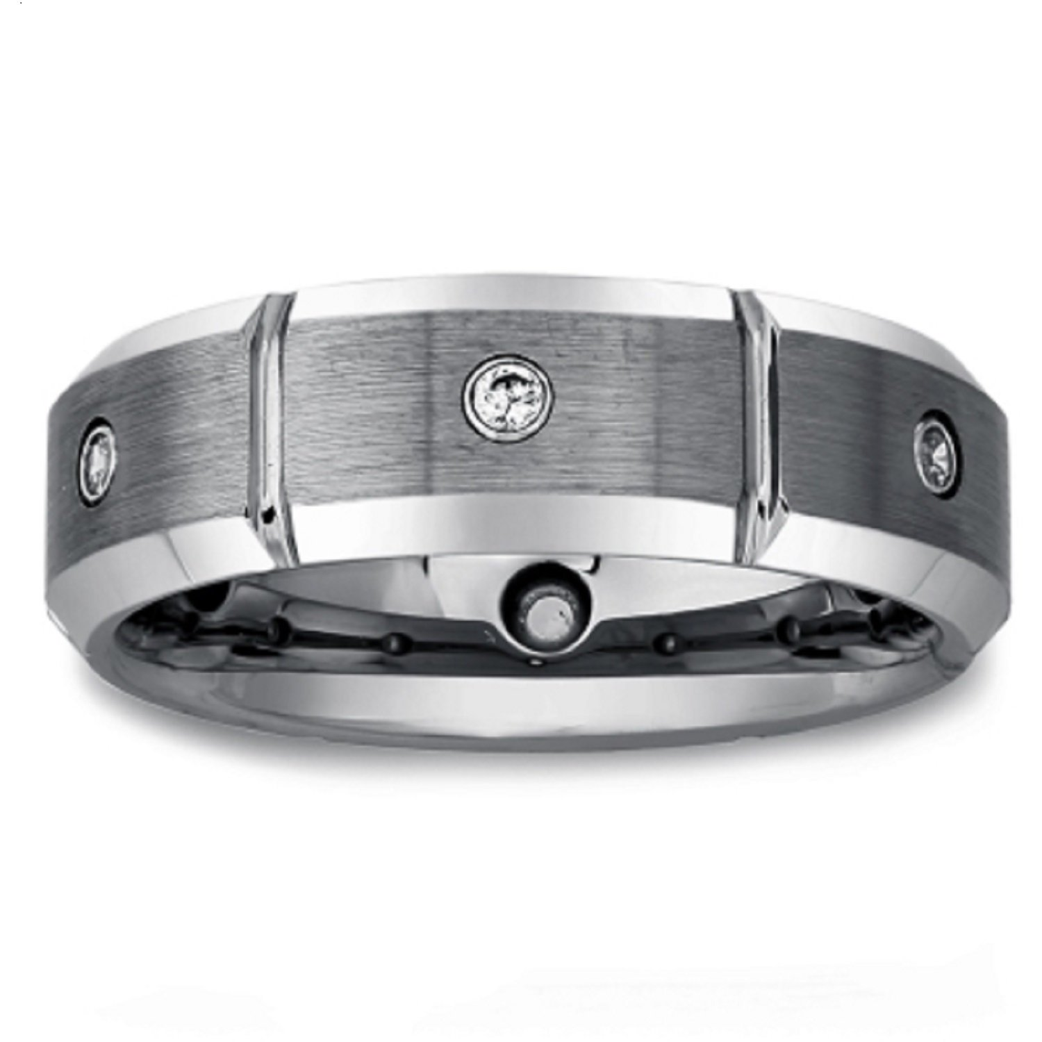 Mens Tungsten Diamond Band (0.15 carats, H-I I2)