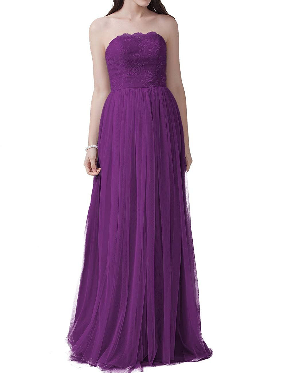 Purple EDressy Congreenible Bridesmaid Dresses Long Tulle Prom Evening Gowns Wedding Party Dress Sleeveless
