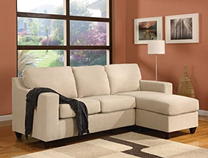 Amazon Com Vogue Microfiber Reversible Chaise Sectional Sofa