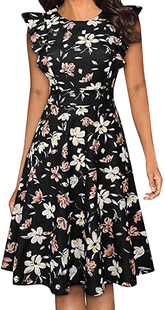 BOLAYU Womens Summer Flower Print Sleeveless Evening Party Mini Club Swing Dress Casual Empire Waist Beach Dress