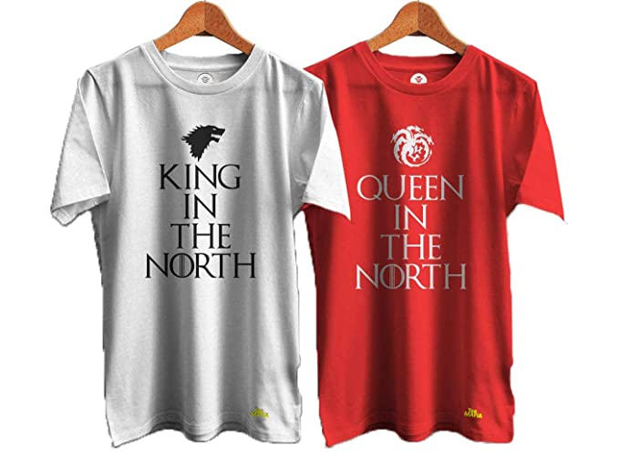 Buy Tee Mafia Unisex Couple Game F Thrones Combo T Shirts King In The North T Shirts Couple T Shirt Valentine Day T Shirt Black Pack Of 2 At Amazon In