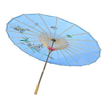 Flor De Ciruelo Diseño Bamboo Chinos Bailar Paraguas Parasol Maya Azul