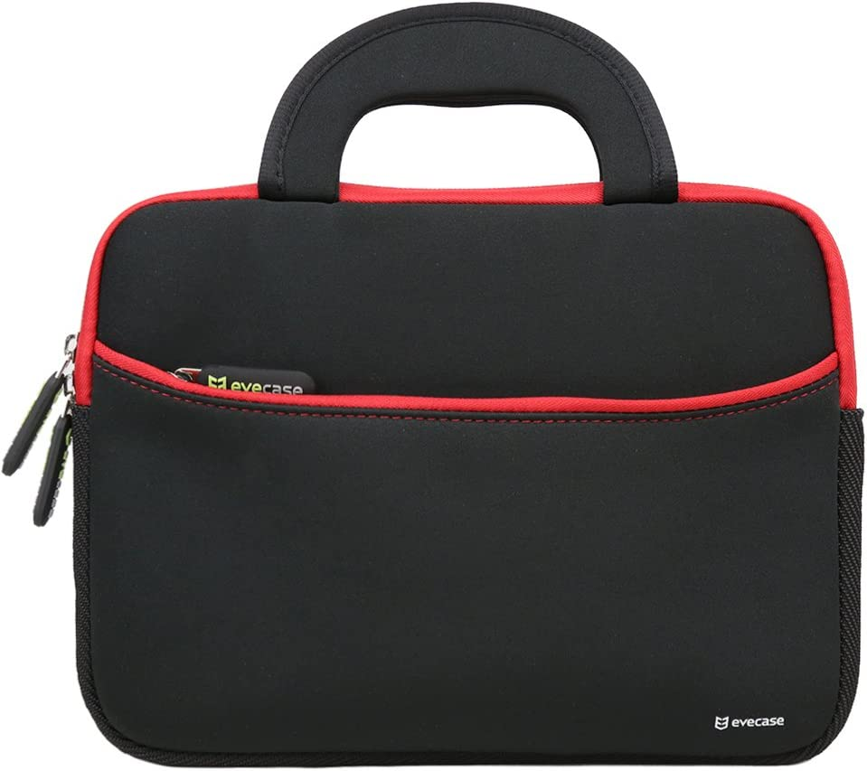 8.9-10.1 inch Tablet Sleeve, Evecase 8.9~10.1 inch Ultra-Portable Neoprene Zipper Carrying Sleeve Case Bag with Accessory Pocket - Black/Red
