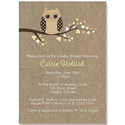 Amazon.com : Owl Baby Shower Invitations, Burlap, Rustic, Cottage ...