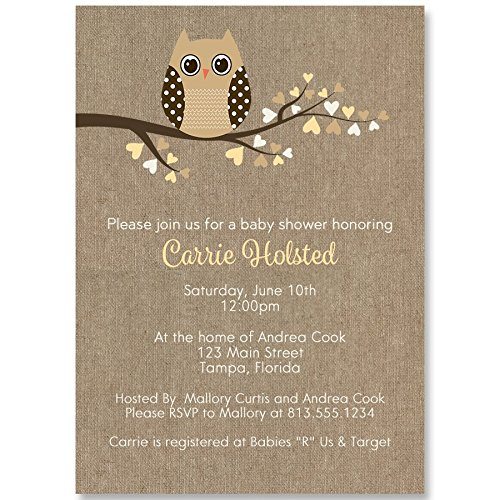 Personalized Cottage (Owl Baby Shower Invitations, Burlap, Rustic, Cottage Chic, Gender Neutral, Feather Their Nest, Mint, Yellow, Personalized, Customized, 10 Printed Invites and Envelopes, Babies are a Hoot)