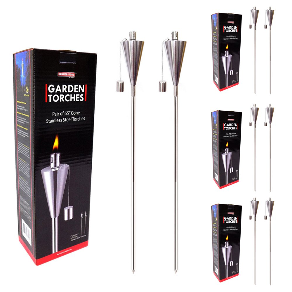 8 Pc Garden Torches 65 Inch Stainless Steel Outdoor Decor Cone Shape Torch Set by gHTN