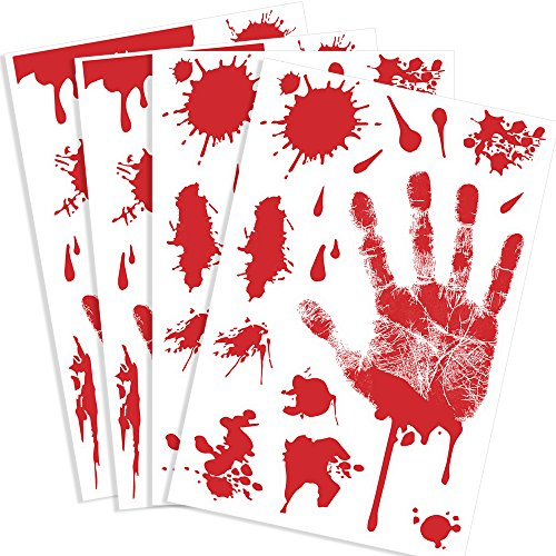 Kuuqa 4 Pcs Bloody Handprint Clings Horror PVC Stickers Decals for Halloween (Halloween Blood)