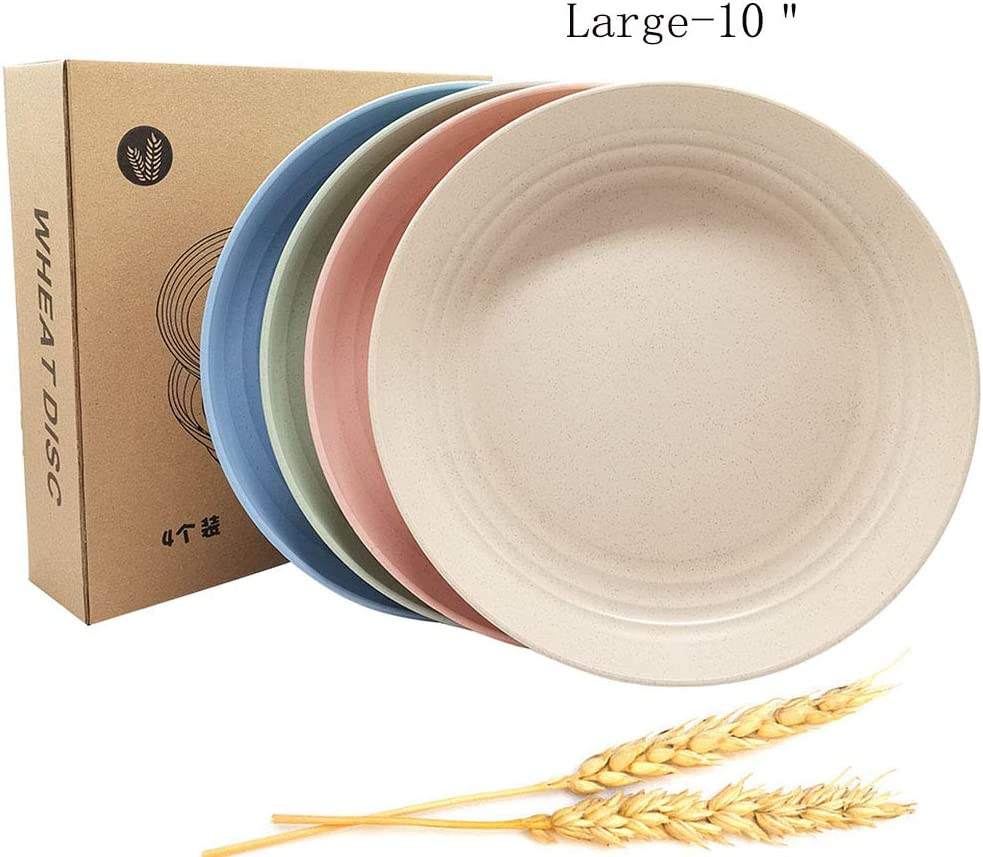 "Extra Large Size 10"" Healthy & Eco-friendly Wheat Straw Deep Dinner Plate Unbreakable, Durable, Reusable & BPA Free Dish, Dishwasher & Microwave Safe, Set of 4, Multi-color, (10"")"