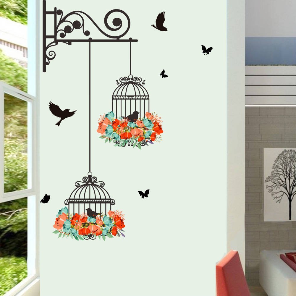 BIBITIME 2 Flower Wreath Birdcages with Black Birds Wall Decal Vinyl Butterfly Sticker for Office Window Living Room Porch Door Back Kitchen Bedroom DIY Art Mural 2612