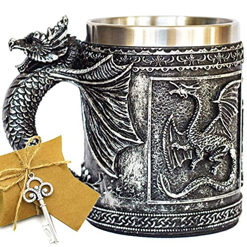 Medieval GOT D&D Dragon Mug Game of Thrones Merchandise Beer Steins Viking Tankard Mug Stainless Steel Coffee Cup Gift Mug for Dragon Collector, Themed Party, Desk/Shelf Decoration
