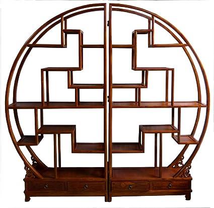Opium Outlet - Estantería redonda de madera de estilo oriental (marrón)