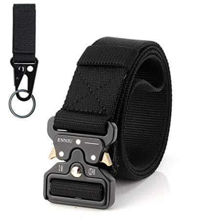 FEIKCOR Tactical Belt Military Nylon Webbing Belt with Heavy Duty Buckle Elastic Loop-Keep The Slack in Place Sports & Fitness Hunting & Fishing